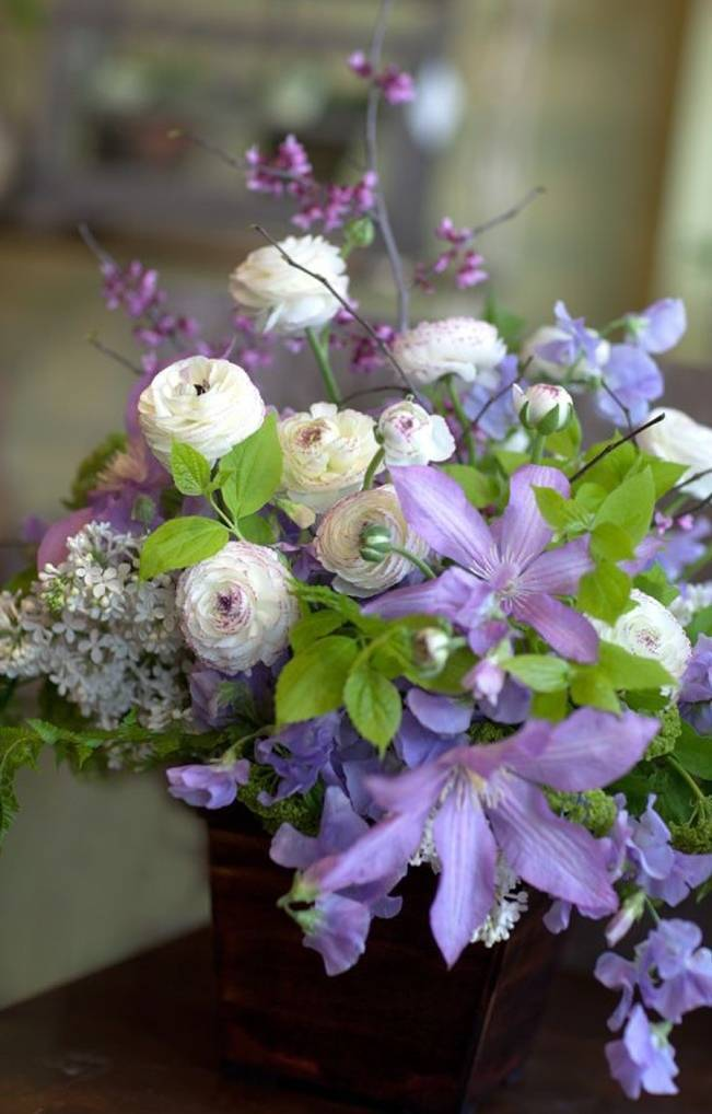 purple clematis arrangement