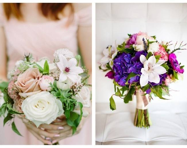 bridal bouquet with clematis
