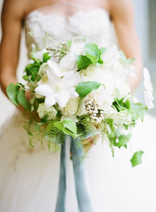 white clematis and fern bouquet