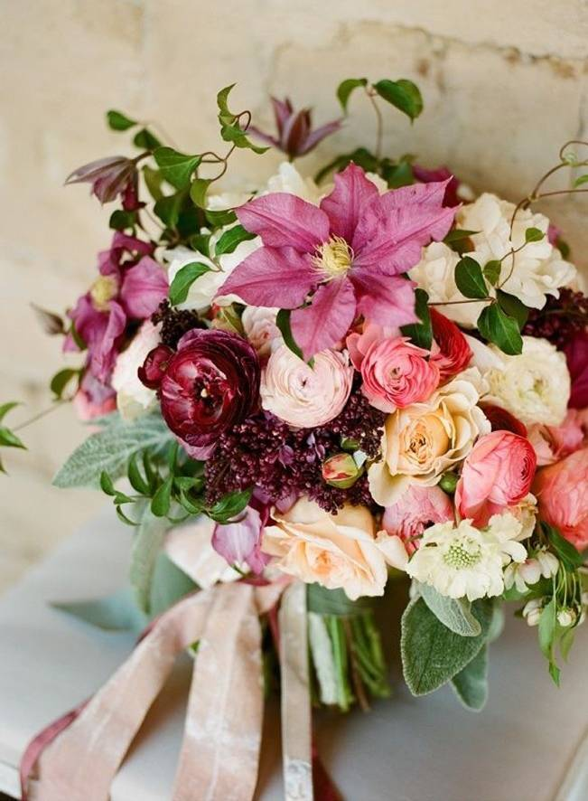pink rose clematis bouquet