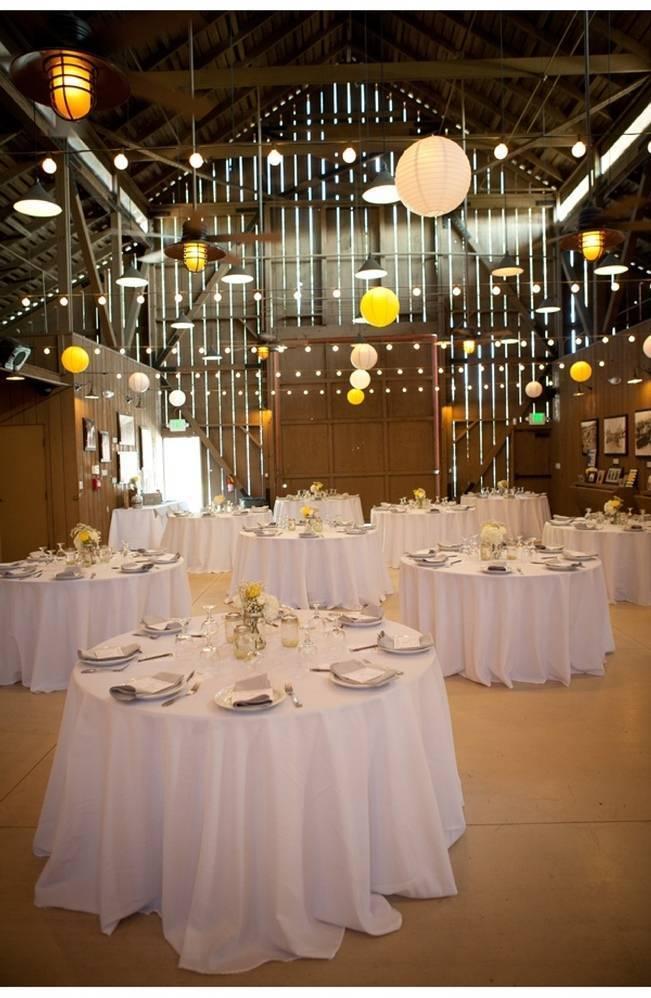 barn wedding reception with paper lanterns