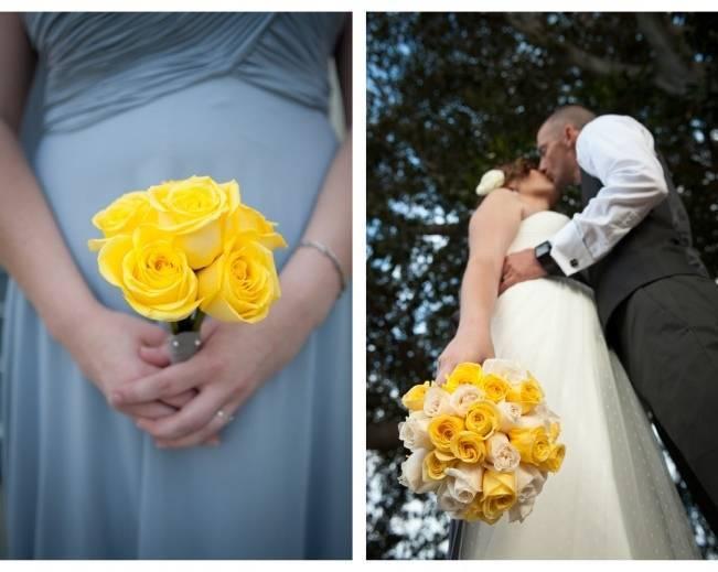 yellow and gray bridesmaids
