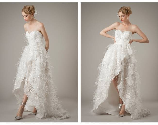 feathery wedding dress
