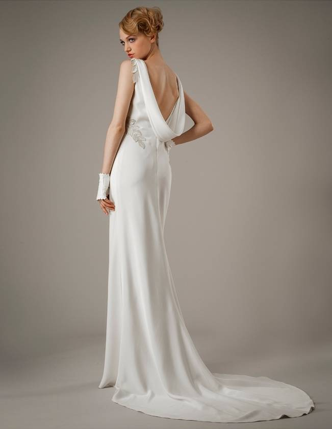 low back draped wedding dress