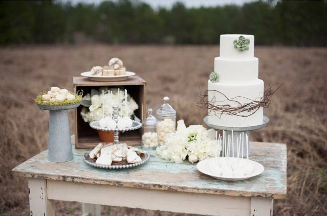 nature inspired wedding dessert table
