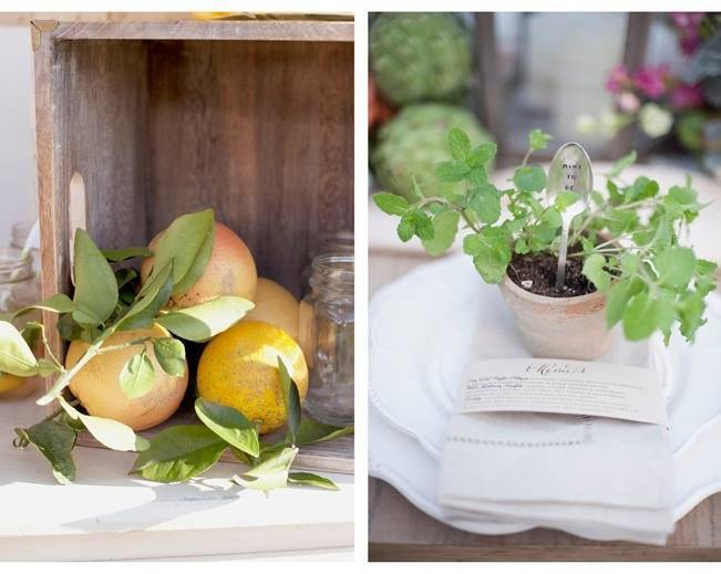 garden herb wedding favors