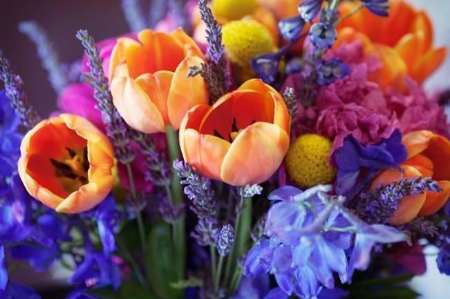 orange purple blue pink bouquet