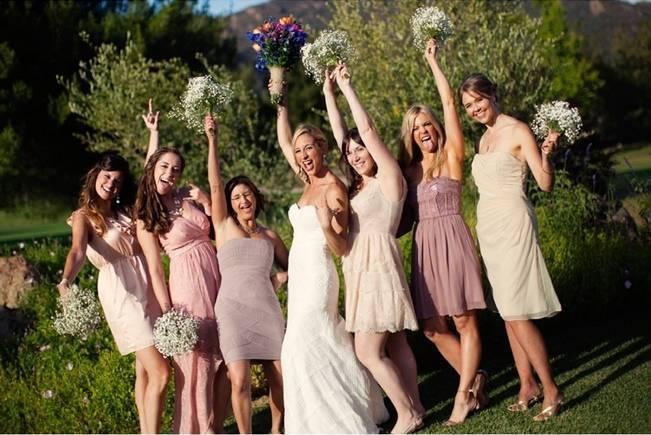 blush bridesmaid dresses mismatched