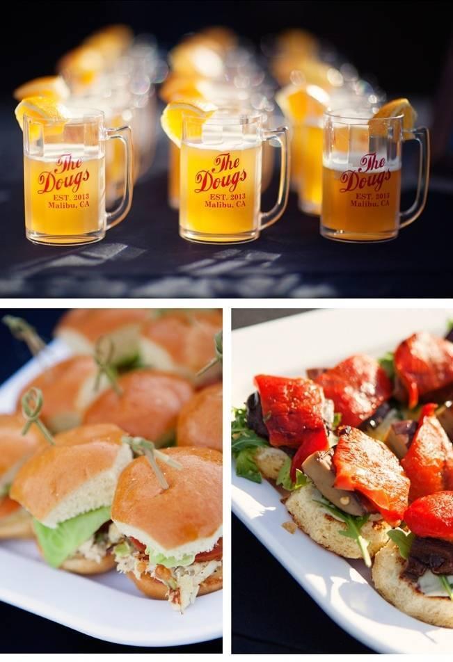 beer and sliders wedding reception food
