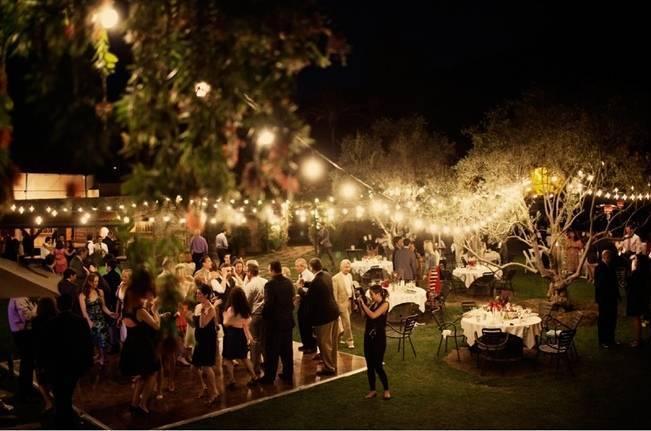 outdoor wedding reception lights
