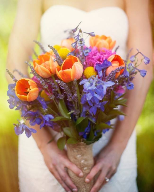 rustic rainbow bouquet