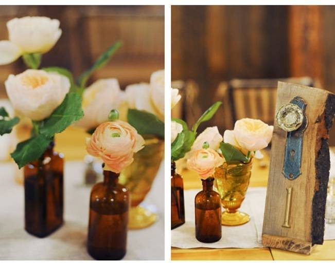peach rose centerpieces in vintage glass
