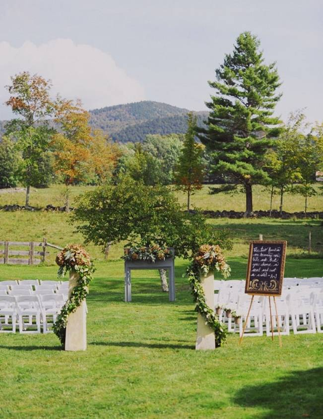 outdoor vermont wedding with mountain views