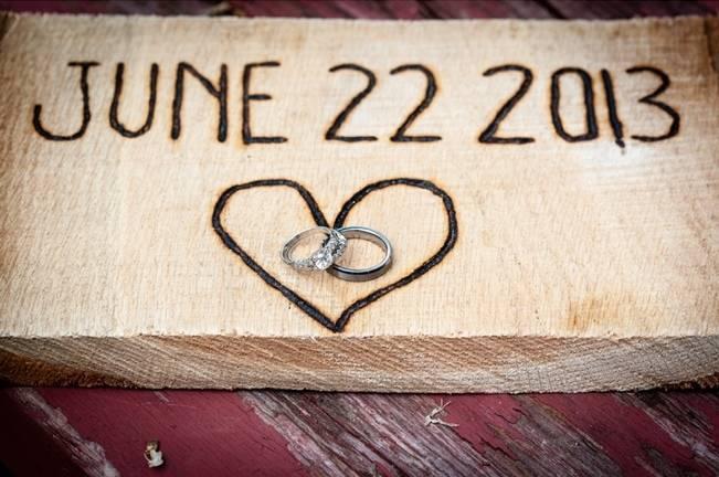 woodburned wedding sign