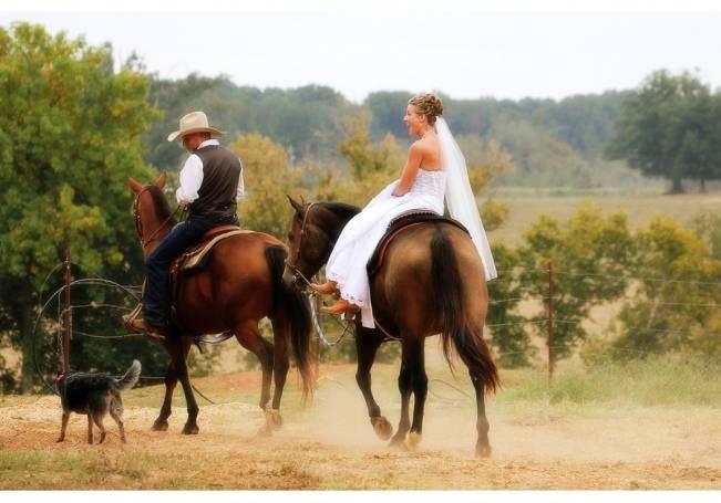 bride riding side saddle