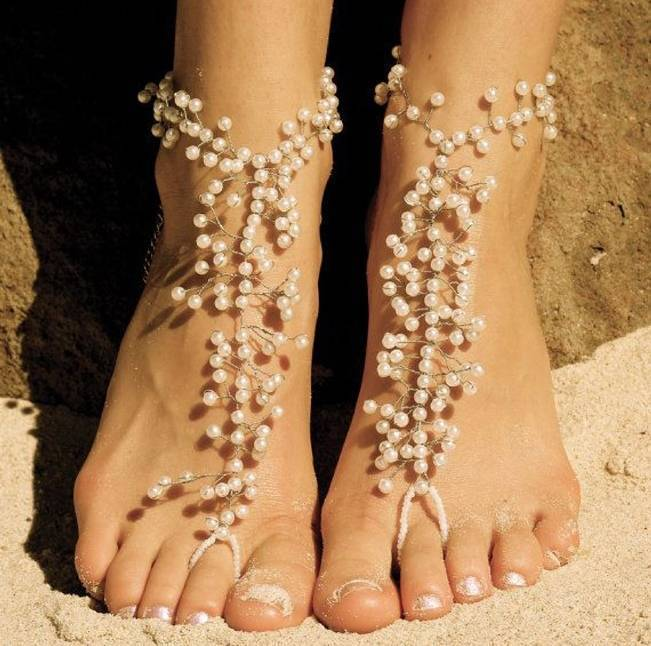pearl bridal barefoot sandals