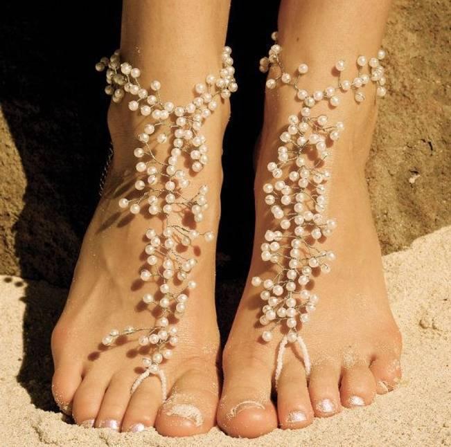 pearl bridal barefoot sandals