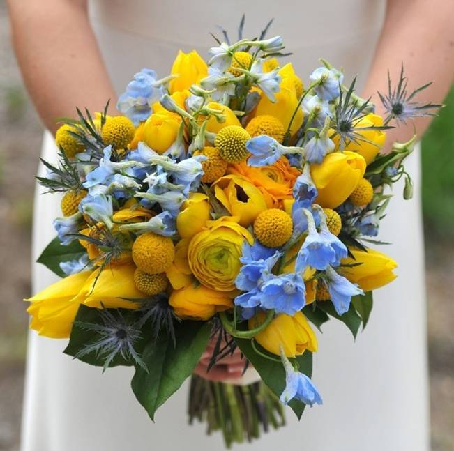 yellow and blue bouquet with billy balls buttons