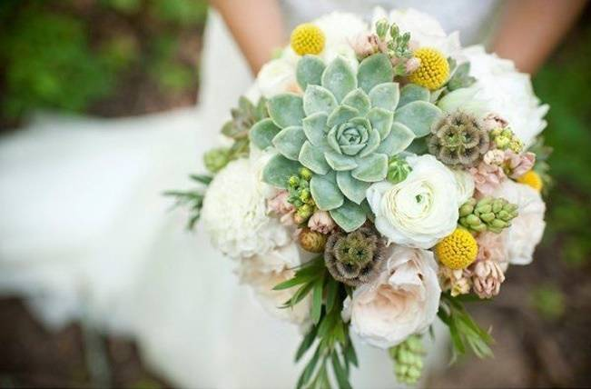 succulent and craspedia bouquet