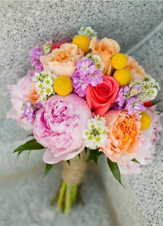pink and yellow rustic bouquet