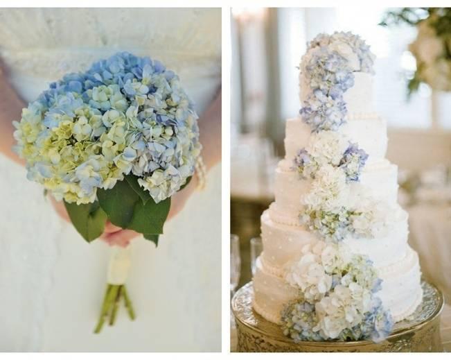 blue hydrangea bouquet cake