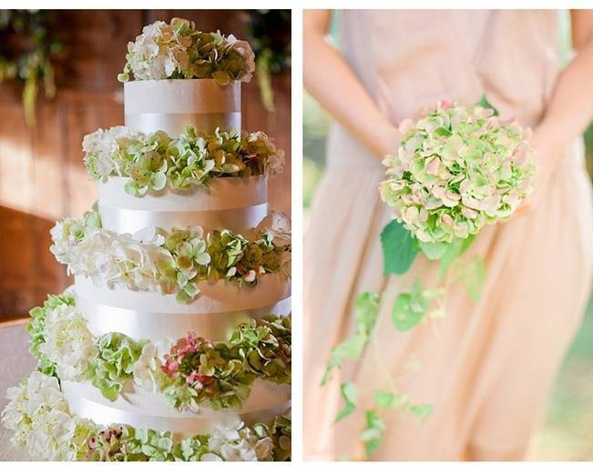 green and pink hydrangea bouquet and cake