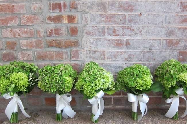 bright green hydrangea bouquets