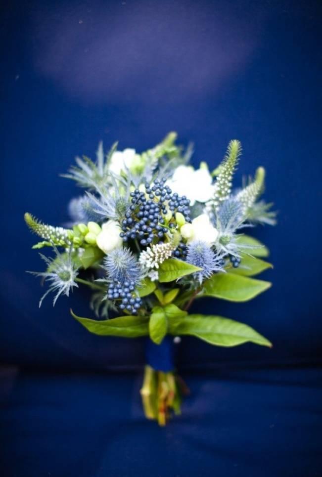 blue thistle bouquet