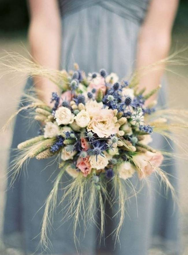 rustic thistle and wheat bouquet