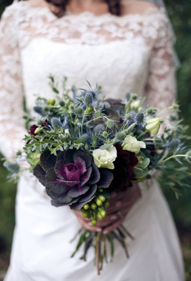 thistle and kale bouquet
