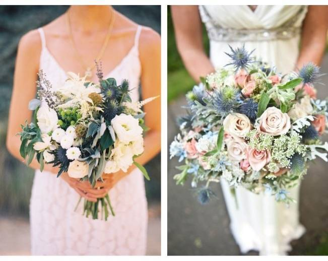 rustic bouquet with thisle