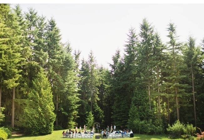outdoor woodland wedding ceremony