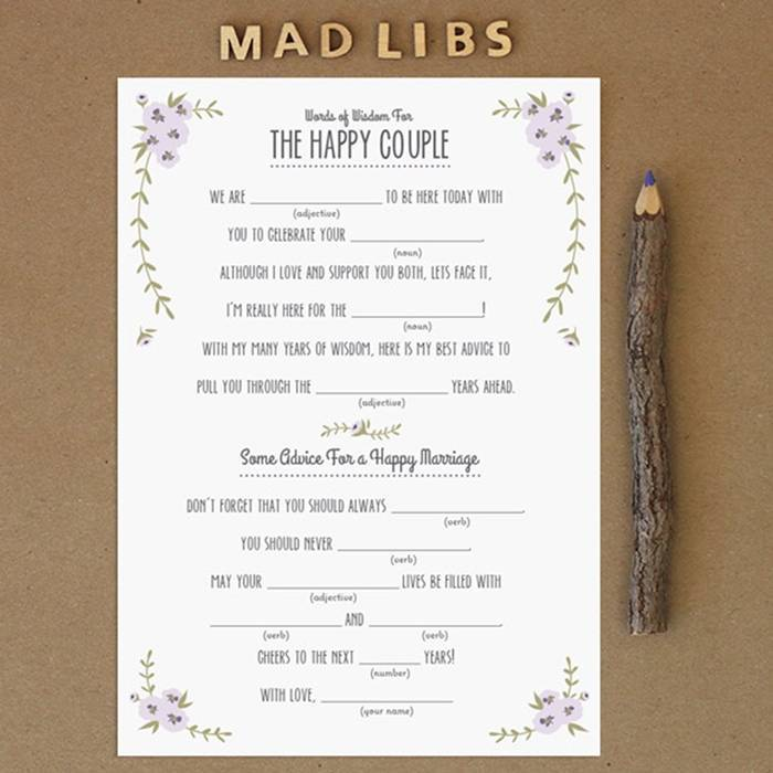 Bright image with funny wedding mad libs printable