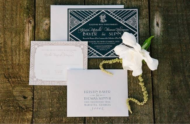 art deco vintage style wedding invitations