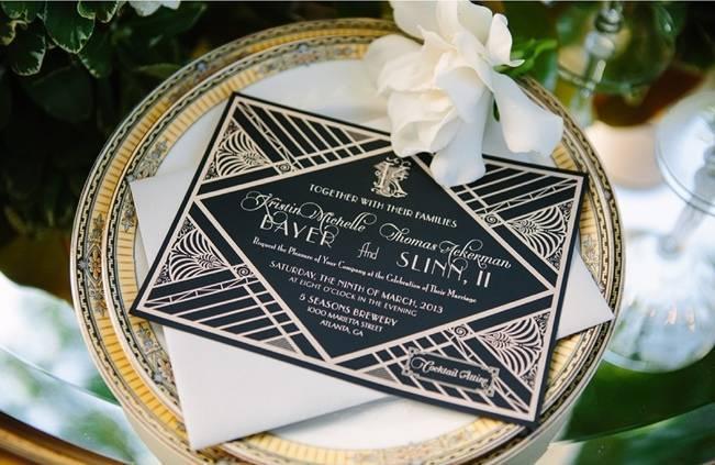 great gatsby style wedding stationery