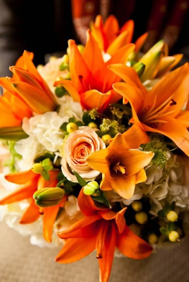 orange fall wedding bouquet