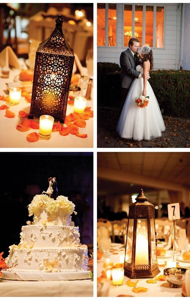 orange wedding theme lanterns