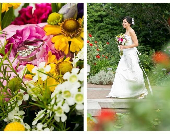 pink and yellow garden wedding
