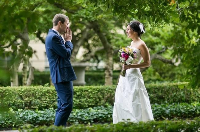 first look suprised groom