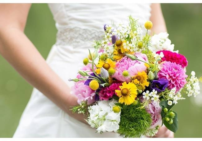 yellow pink purple bouquet