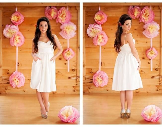 short wedding dress with pockets