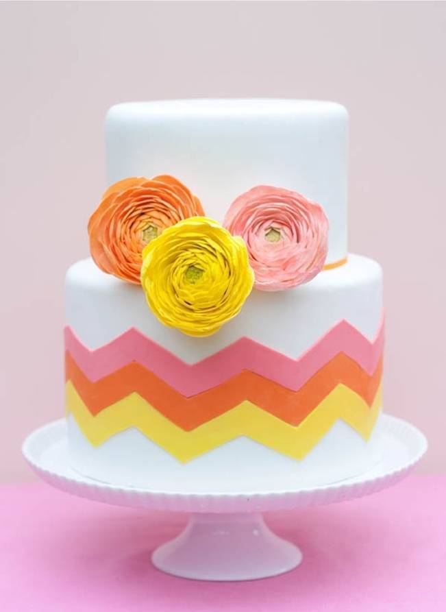 pink yellow orange chevron citrus cake