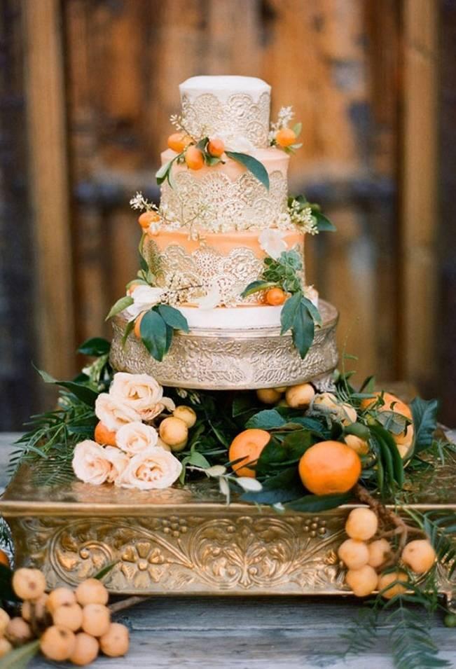 orange blossom wedding cake