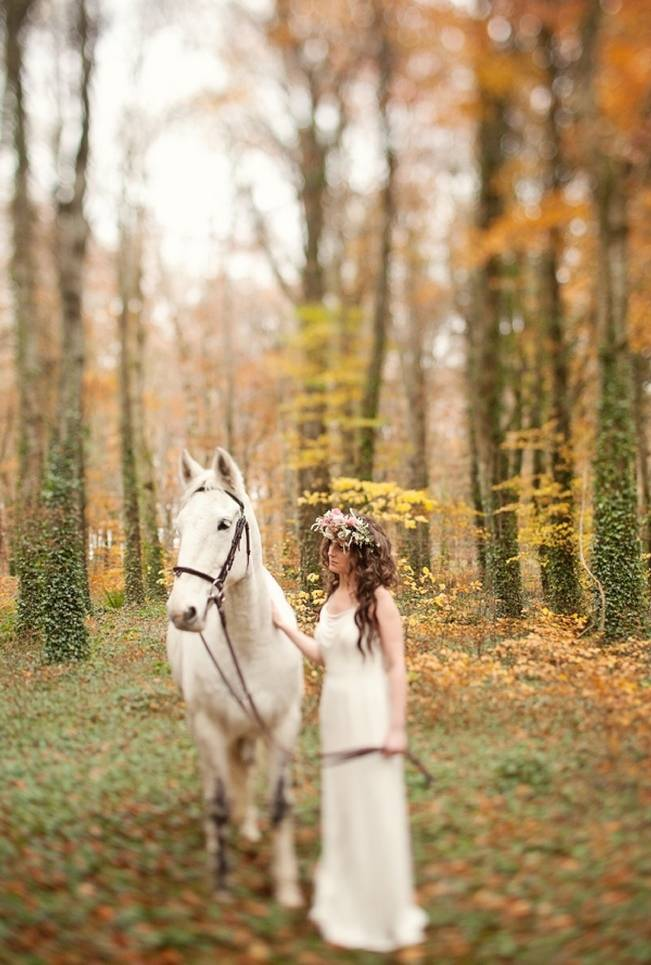 bride with white horse in enchanted forest