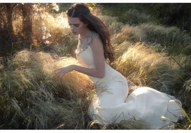 wedding dress with beaded neckline