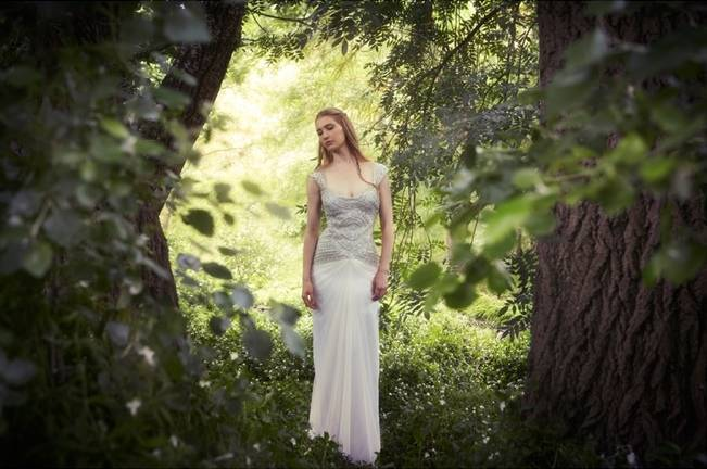 beaded vintage gown for woodland wedding