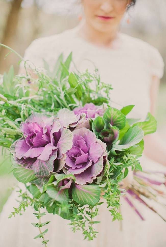 purple and green kale bouquet