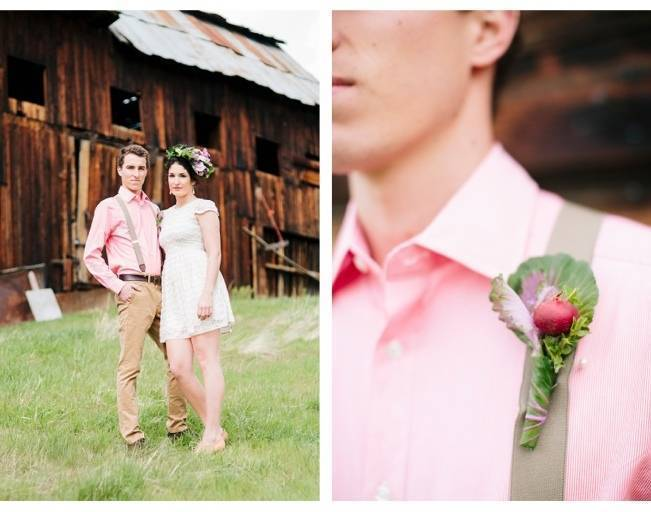 kale and beet boutonniere