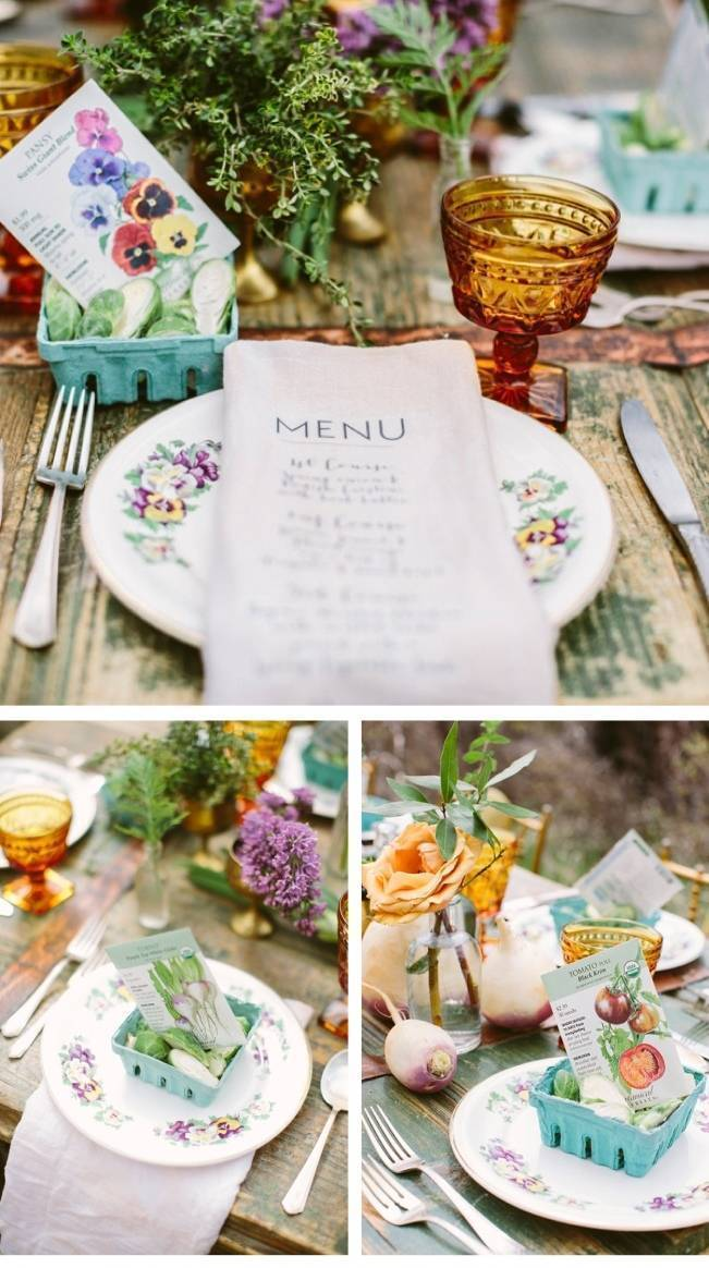 garden wedding place setting, seed packet favors