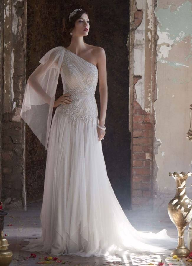 greek style wedding dress with one sleeve